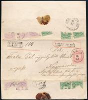 1876 Ajánlott szorgalomlevél 5 x 2kr, 5 x 3kr + 5kr bérmentesítéssel (ez utóbbi sértetlen, a többi 10 bélyeg a levél bontásakor sérült) ÉLESD - NAGY-VÁRAD VÁROS Rendkívül érdekes és még így is látványos darab!