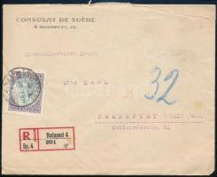 1926 Koronás Madonna 10000K egyes bérmentesítés ajánlott levélen Frankfurtba