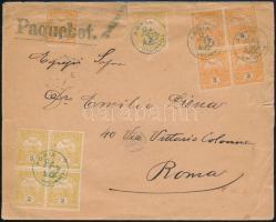 1913 Peterdy hajóposta levél Turul 5 x 2f + 5 x 3f bérmentesítéssel ADRIA UNGHERESE + Tengeren + Paquebot. - ROMA