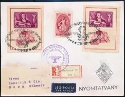 1949 Puskin blokkpár és bélyeg elsőnapi ajánlott légi küldeményen Svájcba