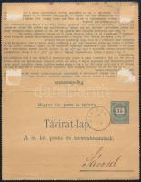 1889 Díjjegyes zárt távirat lap belső kiegészítő bérmentesítéssel SÁR-ABA - Sárosd B.P.V. - Budapest