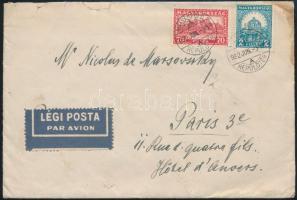 1932 Forgalmi bélyegekkel bérmentesített légi levél Párizsba