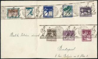 1925 Levéldarab Sport teljes sorral bérmentesítve BUDAPEST / BELGA-MAGYAR MÉRKŐZÉS alkalmi bélyegzéssel