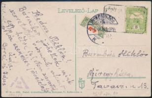 1918 Nagyvárad képeslap felezett Pirosszámú portó 20f bélyeggel
