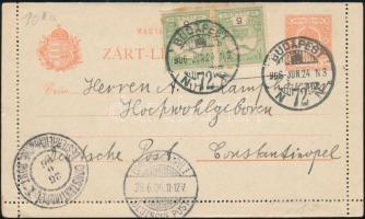 1906 Turul 5f párral kiegészített 10f díjjegyes zárt levelezőlap Budapestről a Konstantinápolyi német postára címezve, német és osztrák posta érkezési bélyegzésekkel