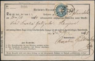 1865 Tértivevényen 10kr + a hátoldalon félbe tépett 5kr DOBRUSCHKA + SANOK
