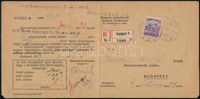 1919 Ajánlott szappanutalvány 15f szükségportóval (kézzel átírt Arató 15f bélyeg) / Registered purchase licence for soap with 15f auxiliary postage due stamp