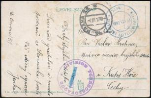 Csehszlovák megszállás: kassai képeslap a szöveg szerint Szlovákiában írva, prágai átmenő bélyegzéssel + a prágai francia katonai misszió és a Csehszlovák hadosztály bélyegzésével Kutna Horába