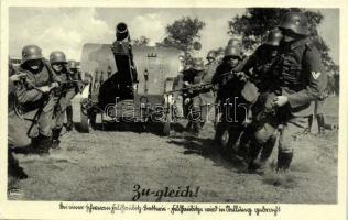 Zu-gleich! / WWII German military, soldiers pulling a cannon. Franckh-Verlag Nr. 193. Zur Veröffentlichung freigegeben