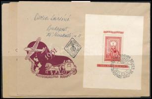 1951 80 éves a magyar bélyeg blokksor 3 FDC-n (50.000)