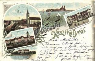 1897 Keszthely, Festetics palota, Hullám és Balaton szálloda, fürdő. Mérei Ignác Art Nouveau, floral, litho (EK)