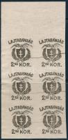 Nyugat-Magyarország VII. 1921 2,50K vágott próbanyomat ívszéli hatostömb
