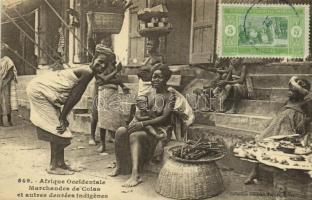 Afrique Occidentale, Marchandes de Colas et autres denrées indigenes / merchants, indigenous women, Senegalese folklore. TCV card