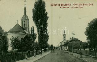 Brod, Bosanski Brod; Srbska crkva / Serbische Kirche / Szerb ortodox templom / Serbian Orthodox church, street view. W. L. Bp. 498. (EB)