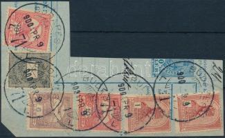 1900 1kr + 2K16f vegyes bérmentesítés kivágáson BUDAPEST 71