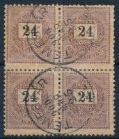 1899 24kr négyestömb, 1. vízjelállás, rendkívül ritka összefüggés (a fogak nincsenek elválva de bélyegragasztóval meg vannak erősítve) TEMESVÁR (84.000+++)