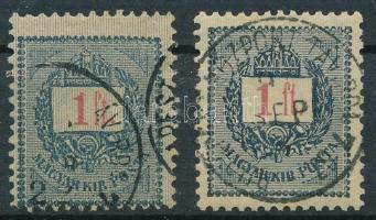 1889 1Ft elfogazott bélyeg, közel álló szám: a számjegy és a betű távolsága ~0,8 mm, nagyon ritka! + támpéldány