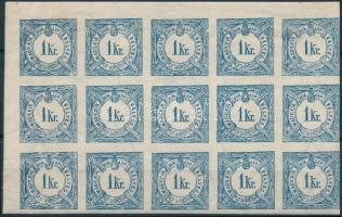 1888 Hírlapilleték bélyeg 1kr ívsarki 15-ös tömb, mindössze 2 bélyeg falcos. Szép és ritka összefüggés!