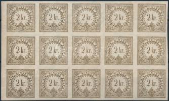 1888 Hírlapilleték bélyeg 2kr ívszéli 15-ös tömb, mindössze 3 bélyeg falcos. Szép és ritka összefüggés!