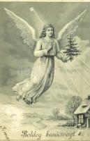 1901 Boldog karácsonyt, üdvözlőlap / angel with Christmas tree, star, winter, Christmas greeting card, litho (apró lyuk / tiny pinhole)