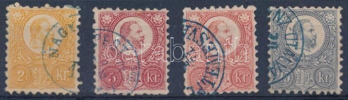 1871 4 db Réznyomat bélyeg kék bélyegzővel (10.800+++)
