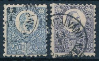 1871 Réznyomat 25kr szürkésibolya + vörösesibolya, szép bélyegek (16.950)