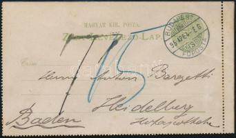 1895 3kr díjjegyes zárt levelezőlap 15pf portóval  BUDAPEST - Heidelberg (Baden)