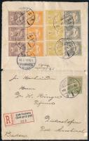 1900 okt.4. Németországba címzett ajánlott levél 13 bélyeggel bérmentesítve, dekoratív kiállítási darab ESZÉK - MESSKIRCH (Baden)