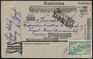 SHS 1920 Felülnyomott tábori lap díjkiegészítéssel a bácskai Csurogból Marosvásárhelyre, ottani román cenzúrával. Signed: Bodor