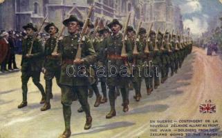 En Guerre, contingent de la Nouvelle Zélande allant au front / The War, soldiers from New Zealand going to the front, WWI military (worn corners)