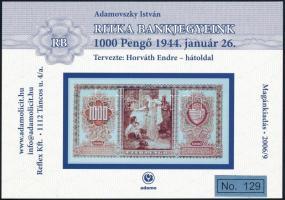 2006 Ritka bankjegyek 1000P hátoldal emlék képeslap