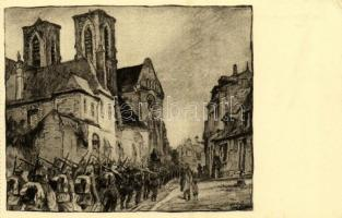 Laon, Einmarsch bei St. Martin / invading German troops at the Abbey of St. Martin, WWI military s: Karl Lotze