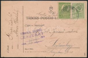 Erdély 1920 Magyar tábori posta lap román bélyegekkel Marosvásárhelyről ottani cenzúrával Szatmárhegyre