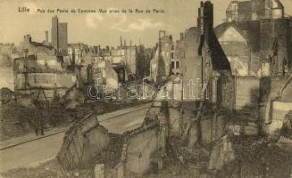 Lille, Rue des Ponts de Comines, Vue prise de la Rue de Paris / street, buildings destroyed in WWI