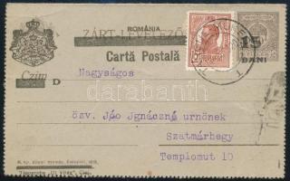 Kolozsvár 1920 Felülnyomott díjjegyes zárt levelezőlap román bélyeggel kiegészítve Marosvásárhelyről Szatmárhegyre, Bodor vizsgálójellel