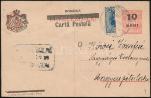 Kolozsvár 1919 Felülnyomott díjjegyes levelezőlap FELEZETT! román bélyeggel kiegészítve MAROSVÁSÁRHELY - Magyarpéterlaka. Signed: Bodor