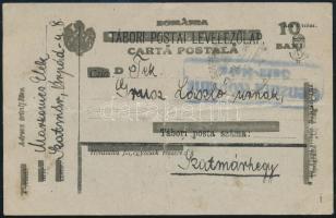 Kolozsvár 1919 Felülnyomott magyar tábori lap Szatmárnémetiből, ottani cenzúrával Szatmárhegyre. Signed: Bodor