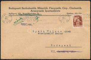 1944 dec.5. Helyi levél a már körülzárt Budapesten, címzett elköltözött címkével, érdekes történelmi darab!