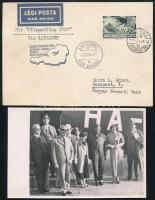 1936 Alkalmi légi levelezőlap Ausztria-Magyarország-Svájc repülés, hozzá a pilótát és utasokat ábrázoló fotólap