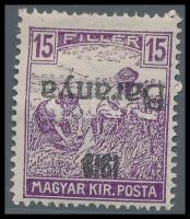 Baranya I. 1919 Arató 15f fordított felülnyomással (22.000)