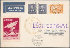 1933 Jamboree légi levelezőlap sárga csatlakozó légijárati bélyegzéssel
