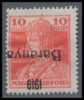 Baranya I. 1919 Károly 10f fordított felülnyomással, Mirtl garancia bélyegzéssel R! (22.000)
