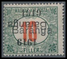 Baranya I. 1919 Zöldportó 10f kettős felülnyomással, az egyik fordított, Mirtl garancia bélyegzéssel RR! (45.000)
