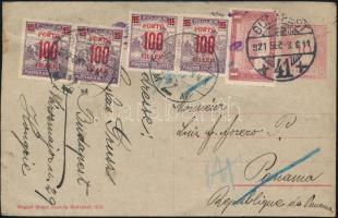 1921 Díjkiegészített díjjegyes levelezőlap Panamába,visszairányítva és portózva. Ritka destináció, érdekes darab!!