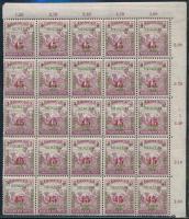 Szeged 1919 Arató 45f/3f negyed ív, bal oldali alsó 4 bélyegen hiányzik az értékszám fedő rombusz R! garantáltan valódi (30.000++)