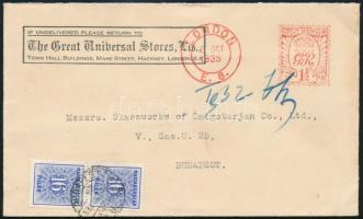 1935 Angol levél 1 1/2 penny gép bélyegzéssel LONDON - BUDAPEST itt 32f Kék portózással