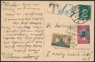 1928 Képeslap STUTTGART - BUDAPEST itt 2f + 10f portózással R!