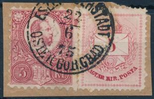 1871 Réznyomat 5kr + 1874 Színesszámú 5kr rendkívül ritka azonos címletű vegyes bérmentesítés kivágáson ESZ(ÉK OBE)RSTADT OSIEK GOR. GRAD.