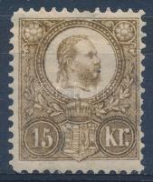 1883 Újnyomat 15kr (törés és foghiány / folded and missing perf.)