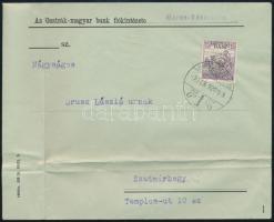Kolozsvár 1920 Arató 15b levélen Marosvásárhelyről Szatmárhegyre, Bodor vizsgálójellel
